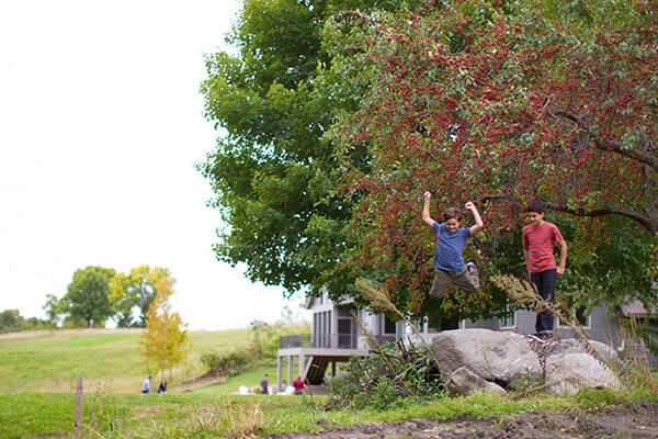 Young boys jumping off a boulder in Orono MN